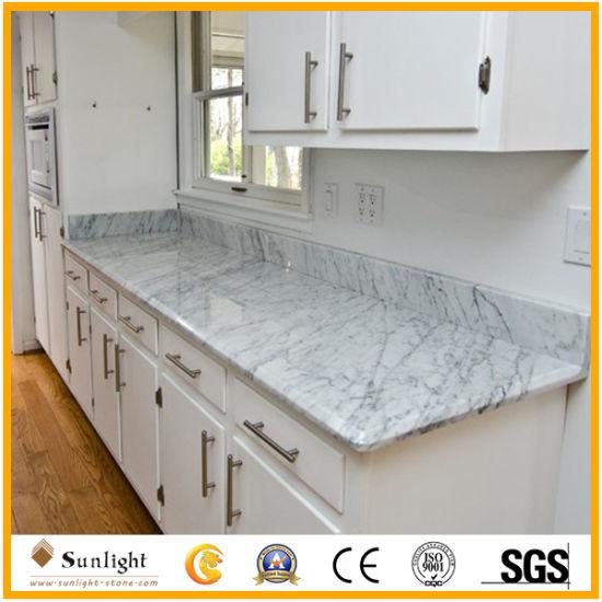 Customized Professional Polished Italian Bianco Carrara White Marble Countertops Vanity Tops