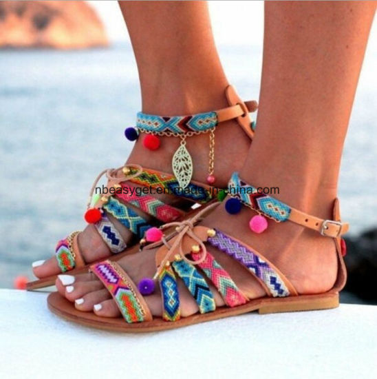 6edac83be398 Flat Sandals Summer Flat Shoes Ladies Flip Flops Bohemia Sandals Leather  Sandals Flats Shoes POM-POM Sandals Beach Sandals Esg10581