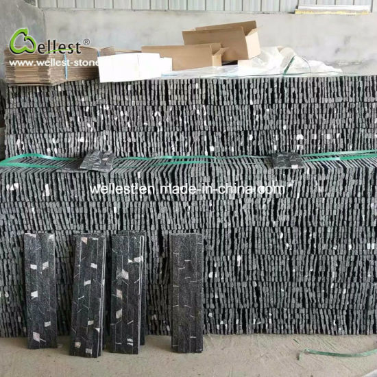 Black Quartzite External Wall Stone Stack Tile For Panel