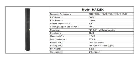 China Professional Loudspeaker Ma Colum Speaker Portable
