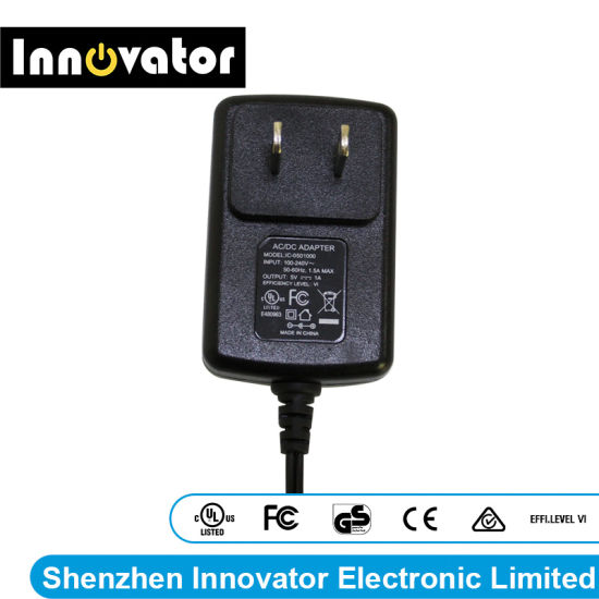 UL Ce Test Certified 5V 1A 5W Wallmount Type AC DC Power Adapter