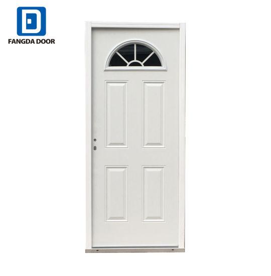 Geometric Zinc Fanlite 4 Panel 2 White 34 In X 80 Decorative Inswing Steel Entry Door