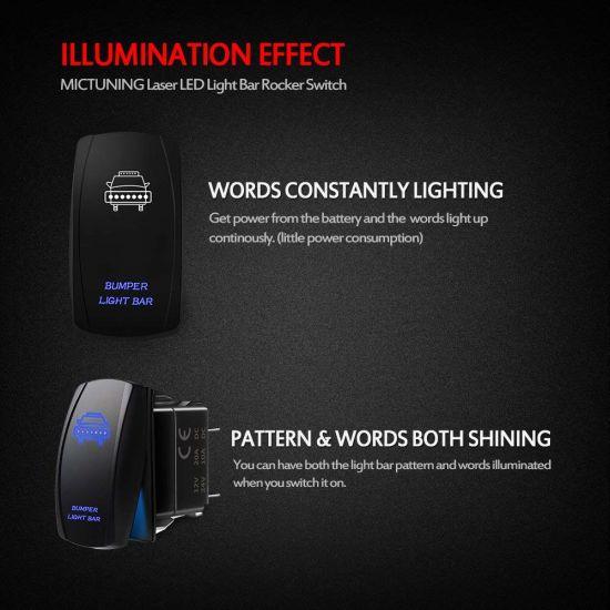 20A 12V On//Off LED Light Blue Toggle Rocker Switch Kit MicTuning LS081502JL Backlit Bumper Lights