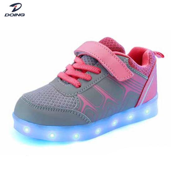 Factory Wholesale Good Quality Stylish Design Buckle Strap Kids LED Shoe Sole