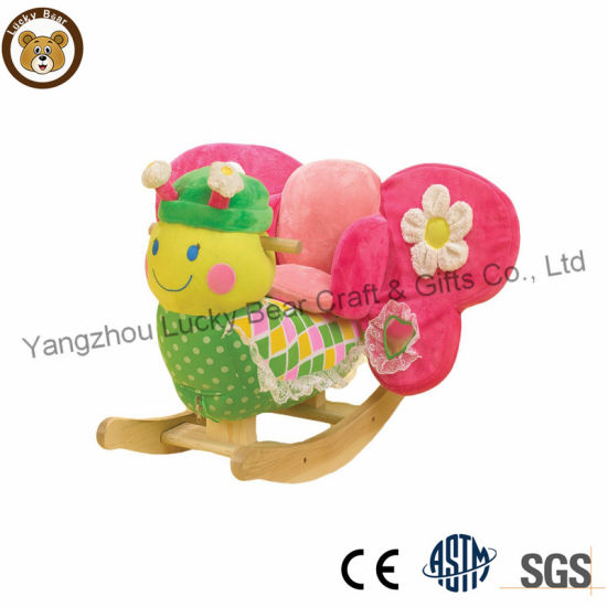 Plush Animal Ride on Toy Butterfly Baby Rocker