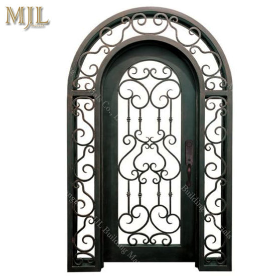 Garden Safety Metal Waterproof Double Main Wrought Iron Door Glass