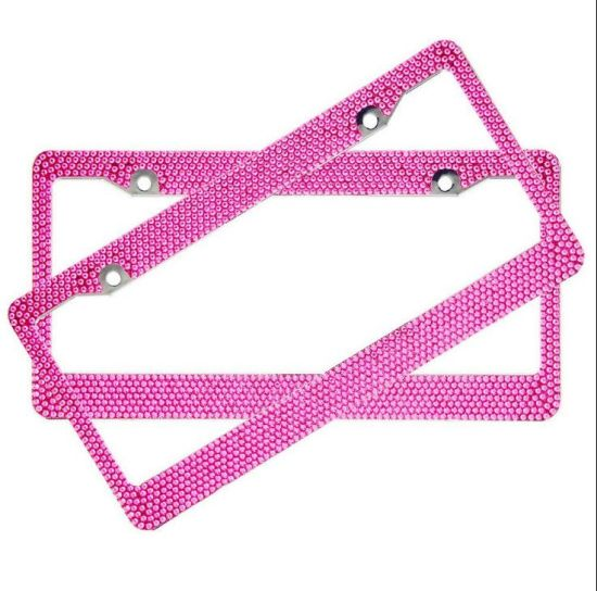China 5 Rows Rhinestone Bling License Plate Frame Custom Plastic Car ...