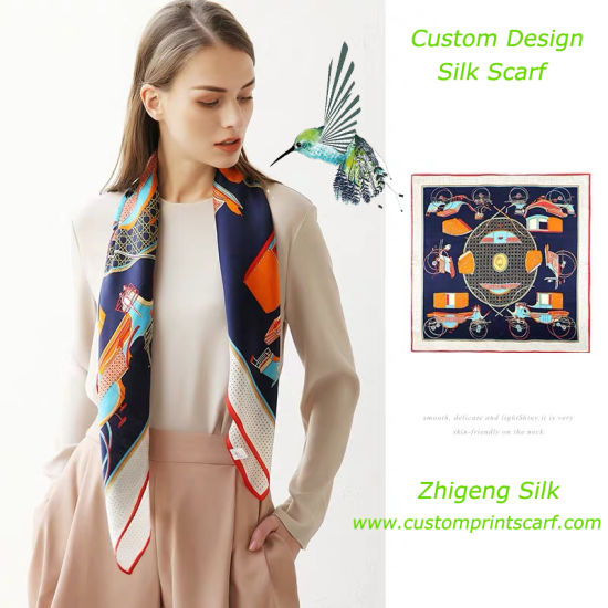 Printed Silk Scarves with Logo