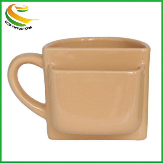 Customized Milk Pocket Mug, Ceramic Coffee Cup with Cookie Holder for Gifts
