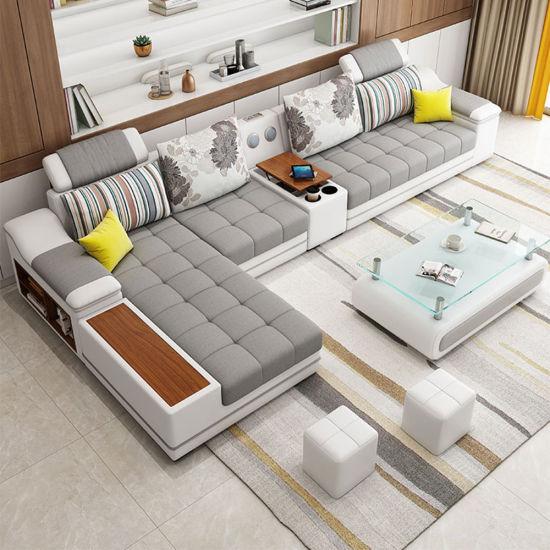 Wholesale Factory Price Soft Cushion Wood Sofa U Shape Sofa