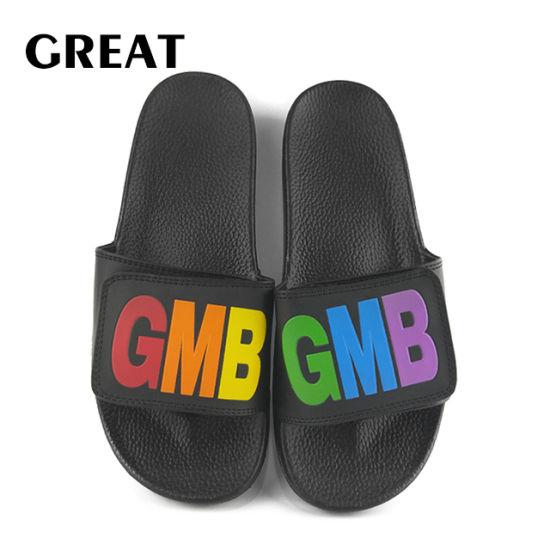 Greatshoe Custom Low MOQ Summber Beach Man/Lady Slide Sandals PVC Plain Slipper Footwear, Custom Slide Sandal Black Slide Slipper
