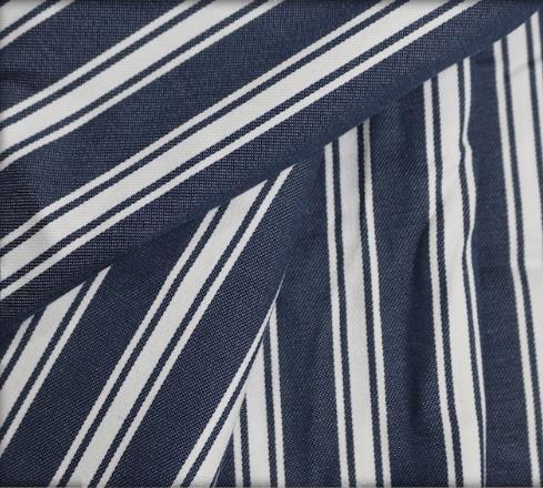 Pariss Yarn Dyed 100% Cotton Navy Stripe Denim Fabric