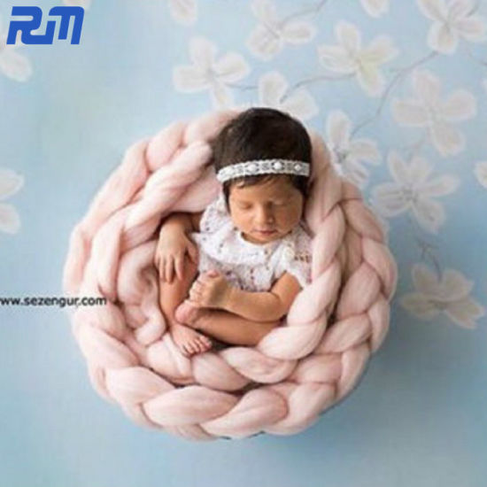 50X50cm Multi Colour Wholeasle Customized Chunky Organic 100% Cotton Knit Baby Blanket pictures & photos