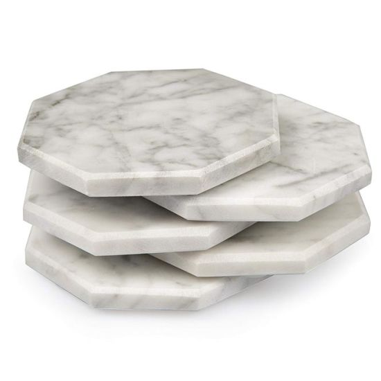 Wholesale Beautiful Italian Carrara Engraved Marble Hexagon Tea Coaster Set