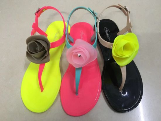 PVC Jelly Shoes Lady Sandal Upper with Flowers