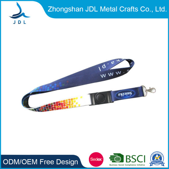 Factory Direct Sale Custom Sublimation Polyester Printing Cheap Rainbow Woven Logo Neck Strap Polyester Nylon Satin Printed LED Lanyard with ID Card Holder