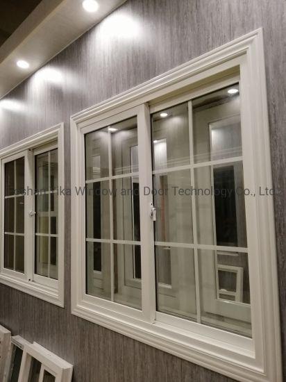 Whtie Colour Grill Design Single Glass/ Double Glass Sliding Window