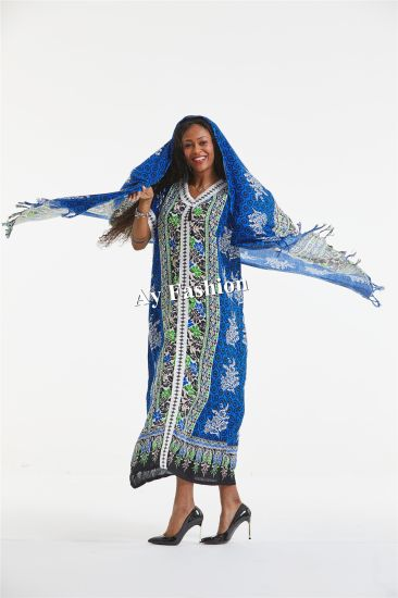 Traditional Africa Dress Women Dress Big Scarf with Lace