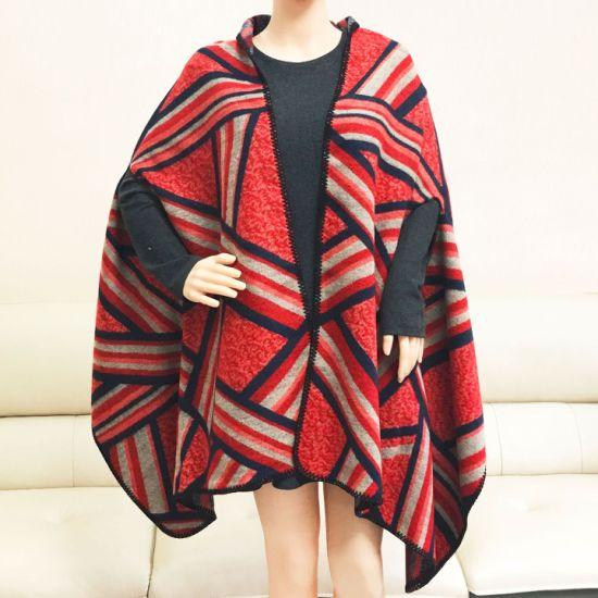 Wholesale Pretty Winter Wool Cashmere Women Jacquard Warm Shawl