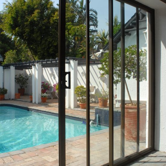 House Home Between The Balcony and The Dining Room Inner Wood Grain Sliding Door and Window Bronze Aluminum Sliding Glass Doors