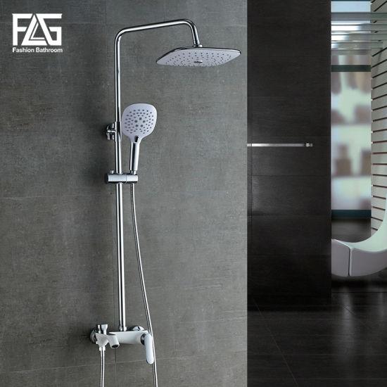 Flg Graceful Wall Mounted Chrome Plated Brass Bathroom Rainfall Sprinkler Shower Sets