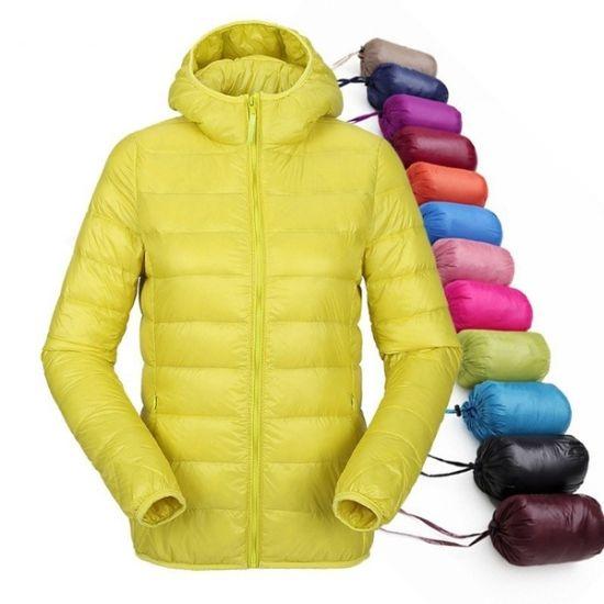 Custom Women Winter Lightweight Jacket Ultra Light Duck Feather Puffer Down Jacket