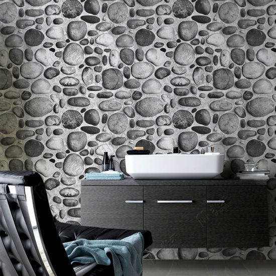 China River Stone Design Home Decoration Living Room 3D Wallpaper ...