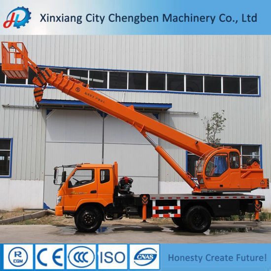 Basket Crane 8ton Truck Mounted Crane with Flatbed pictures & photos