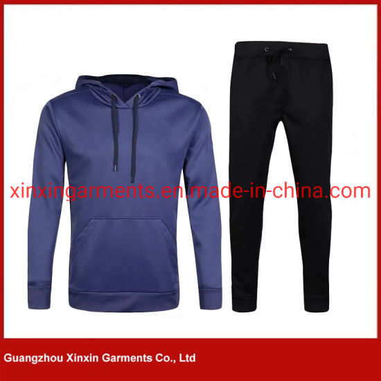 Competitive Price Men′s Plain Cotton Hoody Sweat Suits Wholesale Athletic Cycling Wear Sport Black Track Suit (T425) pictures & photos
