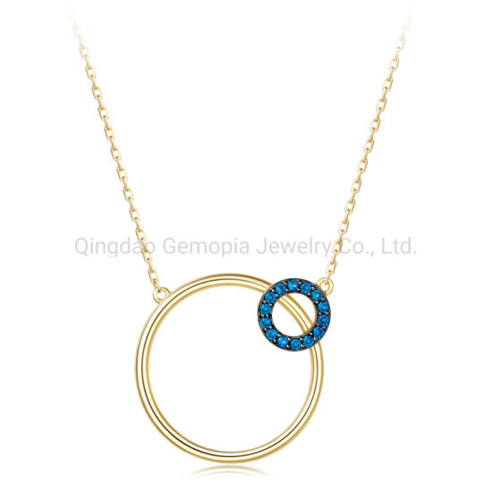 14K 18K Gold Fashion Korea Style Circle Shape Necklace with Color Stone Jewelry
