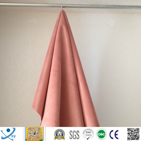 Textile Fabric Wholesale Polyester Soft Velvet Embossed Blackout Fabric for Curtain Upholstery Fabric, 100% Sun Shading pictures & photos