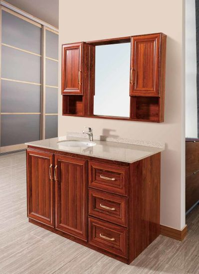 Waterproof Bathroom Cabinets in Solid Wood Color Br-Alv001