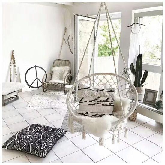 China Hammock Chair Hanging Knitted Mesh Cotton Rope Macrame Swing