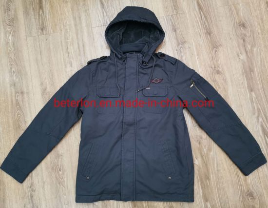 Man Winter Double Placket Detachable Hood Washing Cotton Jacket with Water Repellent