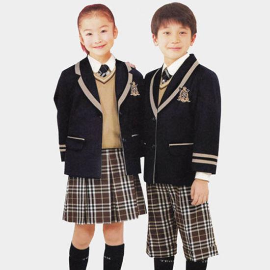 Autumn Piping Beigd Satin School Uniform Suit Blazer