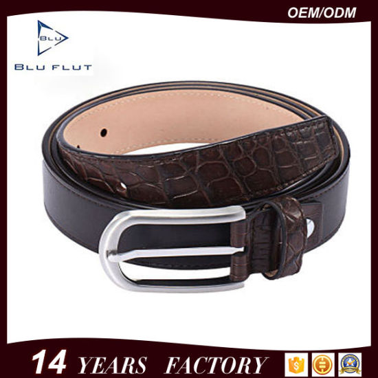 Luxury Crocodile Leather Stitching Genuine Black Cowhide Leather Waist Belt