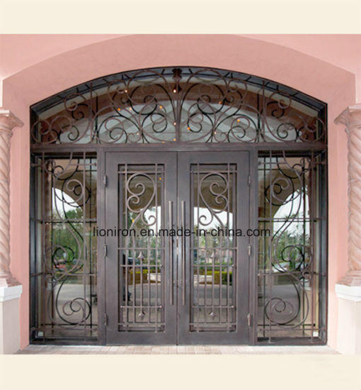 China Hand Forged Iron Security Doors Glass Door With Transom