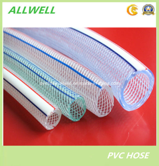 "PVC Plastic Knitted Braided Fiber Transparent Reinforced Tube Pipe Hose for Water Garden Irrigation 1"" pictures & photos"