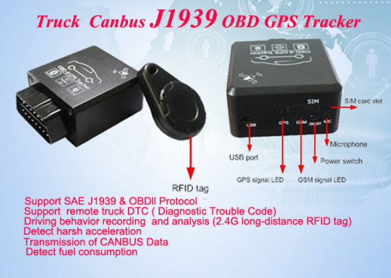 China OBD Car Truck GPS Tracker Support J1939 Canbus