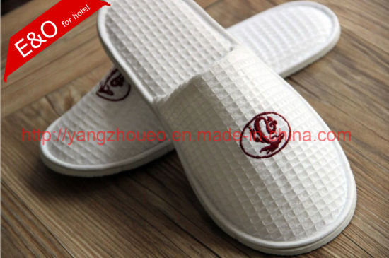Hotel Amenities Hotel Supply Embroidered Waffle Ladies Slippers