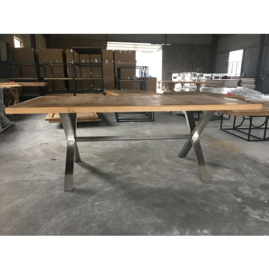 Remarkable New Design Timber Top Metal Cross Leg Dining Table Squirreltailoven Fun Painted Chair Ideas Images Squirreltailovenorg