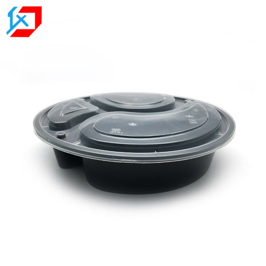 Biodegradable Disposable Plastic Lunch Box 3 Compartment Food Container