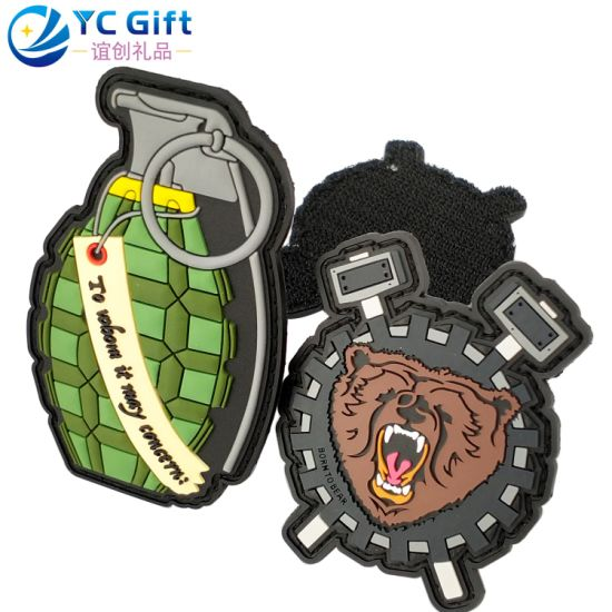 Custom Personalized Garment Accessories Woven Badge Fashion Shoes Hang Tag Sticker Cartoon Lion PVC Rubber Military Grenade Clothing Label Name Patches