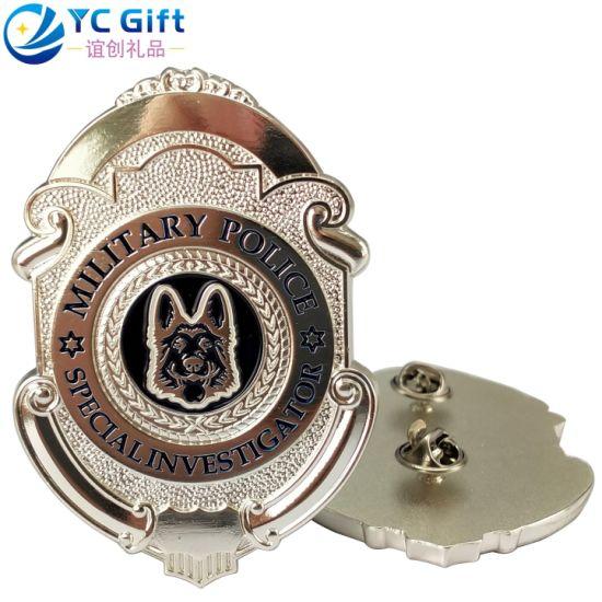 Factory Custom 3D Logo Metal Art Crafts Zinc Alloy Plating Silver UK Military Award Army Police Uniform Button Badges School Sport Souvenir Lapel Pins in China