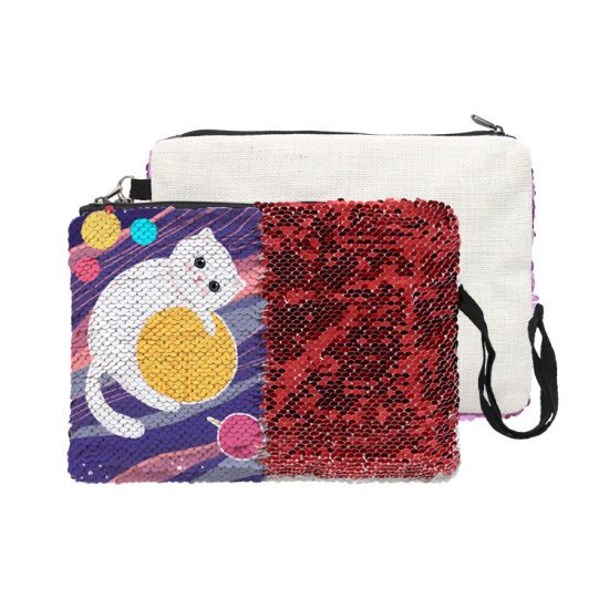 Wholesale 2019 Sublimation Blank Plain Sequin Cosmetic Bag Bulk Customized Cotton Linen Makeup Bag for Women