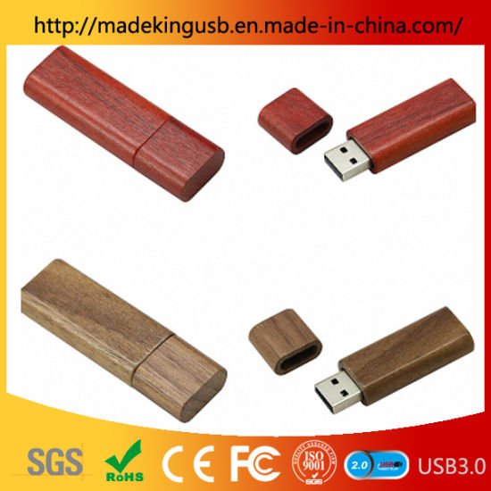 Rectangular Wooden Bamboo / Walnut / Maple / Mahogany USB Flash Drive