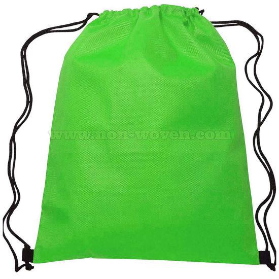 Non Woven Drawstring Shopping Bag 30# Green