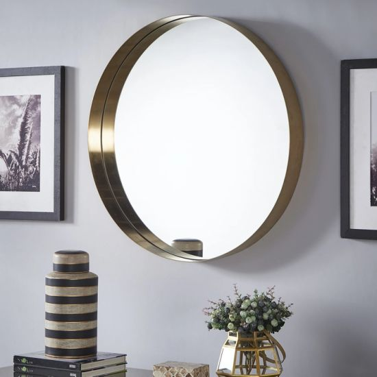 China 4mm Modern Style Round Shape Golden Brass Finish Metal Framed Silver Coating Mirror pictures & photos