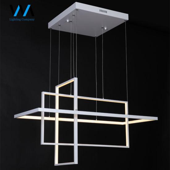 Modern Cube Aluminium LED Simple Squares Banquet Hall Chandelier Pendant Lamp