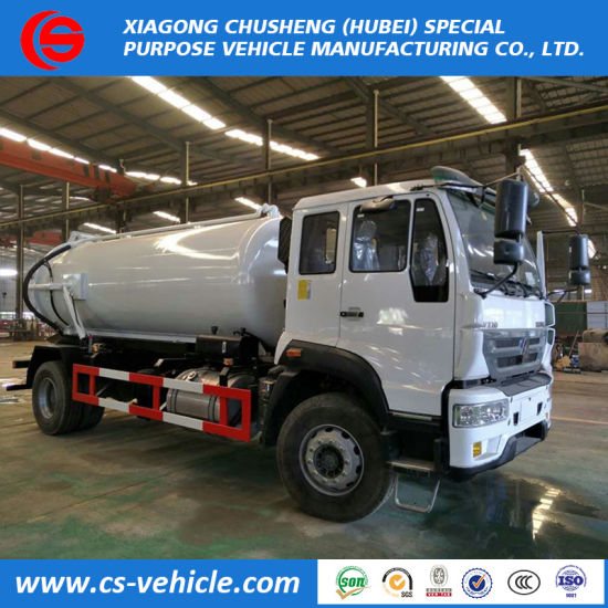 HOWO Vacuum Sewage Tanker 10000L Sewage Suction Trucks for Sale